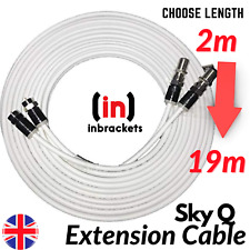 More details for sky cable extension sky q sky+hd twin coax satellite sky lead shotgun with clips