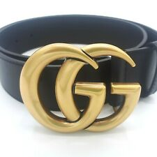 Authentic Genuine Gucci Leather Black Belt with Double G buckle size 36