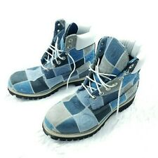 "Timberland Men's Leather Blue Patchwork 6""  Boots Size 9.5 M"