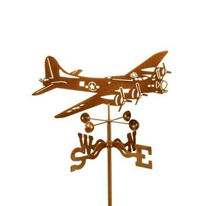 Airplane, B-17 Bomber Weathervane, Flying Fortress Vane Plane w/ Choice of Mount