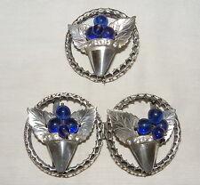 VTG silver DRESS CLIPS~BROOCH SET~SAPPHIRE GLASS BEADS FLOWER BASKETS~RHINESTONE