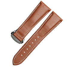 Brown 23mm Replacement Padded Genuine Leather Watch Strap Band Deployment Clasp