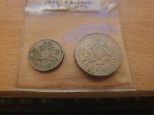 2 x Barbados Copper Nickel Coins 10 Cents 1973, 25 cents 1996 Elizabeth II
