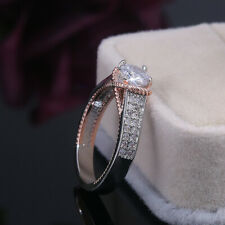 Silver Round Cut White Sapphire Size 10 Fashion Two Tone Wedding Ring Women 925