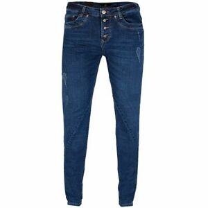 GIN TONIC Damen Boyfriend Jeans 5-Pocket-Style Mid Blue Wash