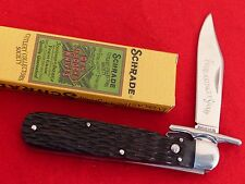 "Schrade MIB bone SCCS2010 swing guard button lock Collectors Society 5"" knife"