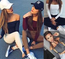 Fashion Women Off Shoulder Crop Top Long Sleeve Shirt Blouse Sweater T-shirt