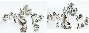 Metall Beads Bohrung 5mm Spacer , Großloch Perle Hufeisen , 5 o.10 Stück