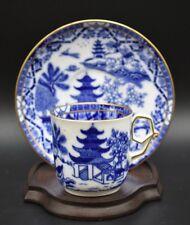 Royal Worcester English Blue Willow Demitasse Cup & Saucer Set 1904
