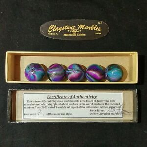 Original Handmade Clay Marbles set #2 Galaxy swirl Signed  Claystone