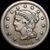 1854 Braided Hair Large Cent Penny ---- Nice Type Coin ---- #H419