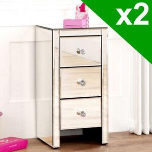 2x Venetian Mirrored 3 Drawer Slim Narrow Bedside - Nightstand Table - VEN52-2-Q