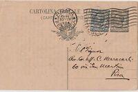 ITALIA 1924 15C SU INTERO POSTALE 15C VALORI GEMELLI DA ROMA PER PISA