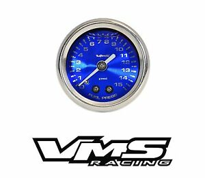 VMS RACING 0-15 PSI LIQUID FILLED FUEL PRESSURE GAUGE FOR CHEVY BBC SBC - BLUE