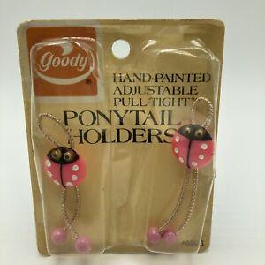 Vintage Goody Adjustable Pull Tight Ponytail Holders Pink Ladybug