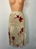 BNWT WOMENS MARKS&SPENCER UK 18 REG CAMEL MIX FLORAL PLEATED MIDI OCCASION SKIRT