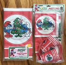 80's SMURF CHRISTMAS Party Pack Cups Napkins Plates 2 Tablecloth Decorations