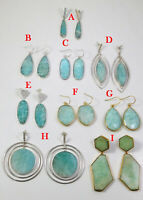 Natural Amazonite Handmade Earring 925 Sterling Silver Jewelry ME3770