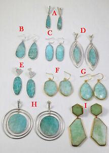 Natural Amazonite Earrings 925 Sterling Silver Minimalist Drop Danglers ME3770