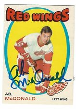 Autographed 1971-72 OPC AB MCDONALD Detroit Red Wings Card #134 w/ ShowTicket