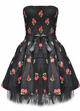 Dead Threads Cherry Dice Goth Emo Prom Party Black Mini Dress Small UK 8