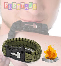 Green Survival Bracelet Outdoor Paracord Flint Fire Starter Scraper Whistle