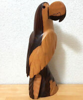 Hand Carved Wood Parrot Figurine Statue