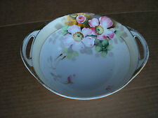 Vintage Nippon Bowl with Handles Hand Painted Flowers