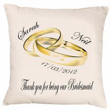 Bridesmaid Gift personalised satin cushion wedding date