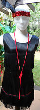 Blk Multi Fringed Mini Flapper Style Satin Dress w/Red Beads & Feathered HB S-M
