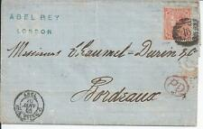 GB COVER 1866 SG42 ON LONG LETTER IN FRENCH TO BORDEAUX SIGNED ABEL REY.