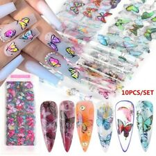 10 MIXED BUTTERFLY Nail Art Folien Nail Transfer Folie Wraps Decal Glitter Stick