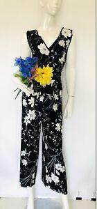 NWT Calvin Klein Cropped Floral-Print Jumpsuit Belt Black White Size 10