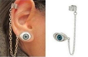 Eye ear cuff,  lucky charm evil eye earring silver