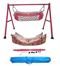 Smart Folding Dark Pink Cradle with two cotton hammock with mosquito net