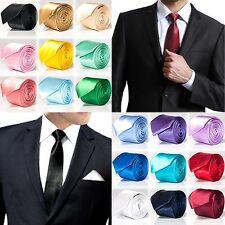 QUALIT Krawatte schmal klassisch + Einstecktuch modern slim business - 24 Farben