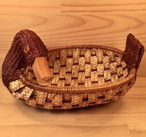 "COUNTRY DUCK ""Brown"" Beautiful Vintage Wicker Basket Decorative Wooden Bird Bowl"