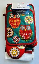 7PC Mainstays Owl Kitchen Set with Towels Dishcloths Oven mitt Potholders New
