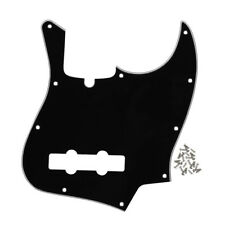 New 3Ply Black Color 4 String JB Bass Pickguard 10 Holes & Screws for Jazz Bass