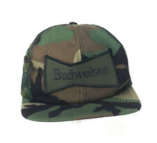 VTG Budweiser Camouflage Mesh Trucker Snapback Hat Made in USA Beer Bud
