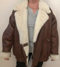 Leather sheepskin Jacket Tan Brown Size 12 / 14 Immaculate