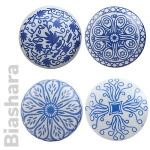 Blue and White DOOR KNOBS FLAT CERAMIC Cupboard Handles Drawer Pulls Quality
