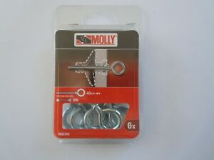 Black /& Decker Molly M66306 6 Pack 40mm Eye Fixing for M6 Plasterboard Fixing