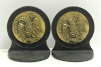 Antique Heavy Cast Iron Eagle Bookends Brass Patriotic American