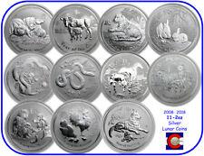 2008-2018 Australia Silver 2 oz Lunar Set 11 Coins (Mouse-Dog)