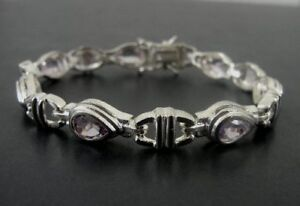 Teardrop Amethyst Purple Stones Sterling Silver 925 Link BRACELET