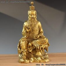 Chinese Antique Taoism Leader Brass Copper TaiShang Laojun God Seat Stone Statue
