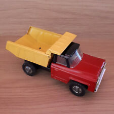 Vintage Japanese Enamel Tin Toy Chevrolet Dump Truck Moveable Back Red/Yellow