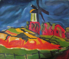 """Holland Landscape with Windmill. Genuine Oil Painting 20""""x24"""""""