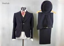 Vtg 20s 30s Classic British City 3 Piece Suit & Bowler Hat Edwardian Button Fly